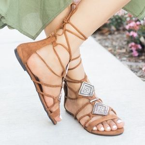 Shoes - NWT. Gladiator rhinestone lace up sandals